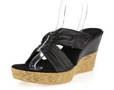 Women's ONEX 228362 black leather wedge slides sz. 9