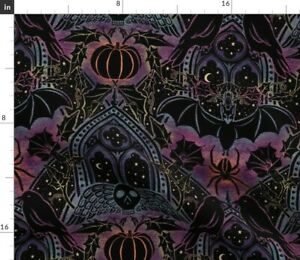 Gothic Halloween Celestial Rainbow Purple Damask Spoonflower Fabric by the Yard
