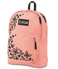 """Trans by JanSport® Overt 17.5"""" Butterfly detail Backpack - Coral NWT"""