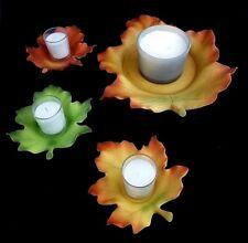 New - PartyLite Multicolored Ceramic Leaf Tea Light Holder Set