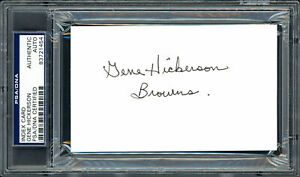 "Gene Hickerson Autographed 3x5 Index Card Browns ""Browns"" PSA/DNA 83721454"