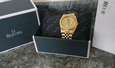 BULOVA SUPER SEVILLE OYSTER WATCH DAY DATE FLUTED BEZEL 18CT GOLD PLATED