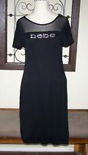 Bebe Black Mesh Shoulder Rhinestone Logo Dress NWT $69, size L