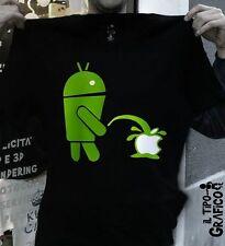 T-shirt ANDROID vs APPLE - Maglia Cotone 100% NERO
