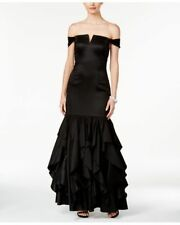 Adrianna Papell ~ Black Off Shoulder Ruffled Mermaid Formal Gown 10 NEW $299