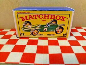 Matchbox Lesney No19 Lotus Racing Car EMPTY Repro box...  NO CAR
