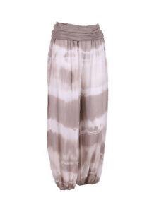 Lagenlook Tie Dye Harem Mocha Trousers
