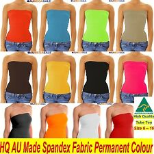 Women Basic Solid Tight Singlet Seamless Boob Tube Top Strapless Spandex 6 - 16