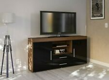 "New Sleek High Gloss 55"" TV Console Unit Stand Cabinet Walnut Brown & Black"