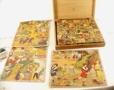 Jeu de 42 cubes en bois ancien années 20/30 dimensions 30 x 28 cm complet