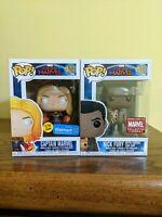 Funko pop Captain Marvel Walmart GITD & Captain Marvel #447 NICK FURY w/ GOOSE
