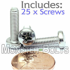 M4 x 16mm - Qty 25 - Stainless Steel Phillips Pan Head Machine Screws DIN 7985 A
