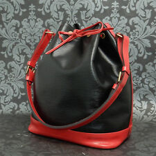 Rise-on LOUIS VUITTON EPI NOE Black & Red Drawstring Shoulder Bag Handbag #228