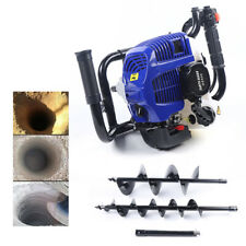2 Stroke Gas Powered Post Hole Digger With 4 8auger Bits 52cc Power Engine Motor