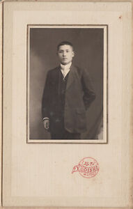 Antique Photo / Young Man Portrait / Japanese / Dated 1914