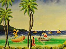 DELVA-? R N signiert - Naives Gemälde: SÜDSEE-PARADIES, PALMEN, SCHWARZ-ANGLER