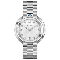 Bulova Women's Quartz Rubaiyat Diamond Accent Sapphire Crystal 35mm Watch 96P184