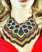 NATIVE STYLE HANDMADE ETHNIC BEADED PEACOCK BIB NECKLACE EARRINGS S31/9