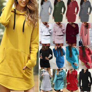 Damen Kapuzenpullover Pullikleid Langes Hoodie Langarm Sweatshirt Pullover Kleid