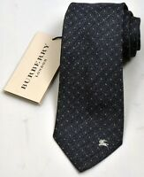 NEW Burberry Indigo Color Mans Silk/Cotton Tie 100% Authentic Italy Made 032507