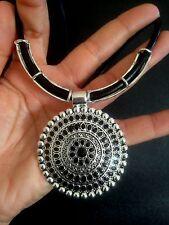 Necklace Silver Black Tribal Hippie Ethnic Boho Bohemian Gypsy N1026