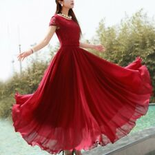 Women Lace Long Sleeve Dress Prom Evening Party Cocktail Chiffon Formal Gown AU