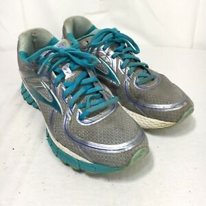 Brooks GTS 16 Women's 10 B Gray Blue Lace Up Blown Rubber Athletic Running Shoes