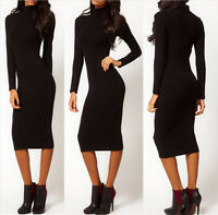 Womens Bodycon Long Sleeve Dress Ladies Party Evening Long Dress Size 6 - 14