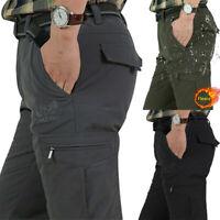 NEW Men's Winter Tactical Fleece Lined Pants Soft Waterproof Warm Pants Trousers