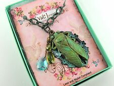 Vintage Style CICADA Necklace Chain Verdigris Egyptian Revival Runway Chunky
