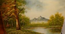 YAMEN HUGE OIL ON CANVAS RIVER MOUNTAIN LANDSCAPE PAINTING