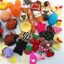 Kawaii Resin Food Heart Cookie Bread Artificial Cake Cabochons Cameo 50pcs