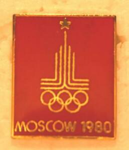 """1980 Red Background Moscow Olympics Logo Pinback Collectors Pin - 7/8"""" x 3/4"""""""
