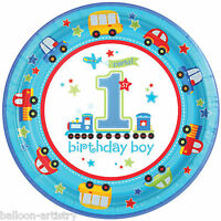 8 All Aboard Blue Boy's 1st Birthday Party Disposable 23cm Paper Plates
