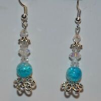 Intricate drop long blue and white glass dangle handmade intricate earrings