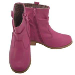 L' Amour Fuchsia Leather Mid Ankle Zip Fashion Boots Toddler Girl 7-10
