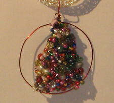 """Hand Crafted Christmas Tree Silver Necklace and Pendant 20"""" green & Red #134a"""