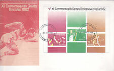 1982 XII Commonwealth Games Brisbane (Mini Sheet) FDC - Hay St Perth 6000 PMK