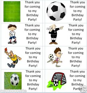 40x Personalised football labels/stickers/birthday/party/cake/sweet/bag thank u