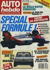 AUTO HEBDO n°568 du 8 Avril 1987 205 GTI 16S RUGERRI ROLLS ROYCE CORNICHE