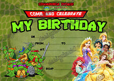 TEENAGE MUTANT NINJA TURTLES & Principessa Disney Compleanno invito, envelopesx10