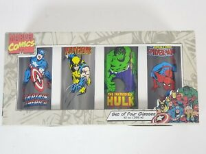Marvel Comics Collector's 16oz Pint Glasses Tumbler Set 4-Pack Glassware #26012