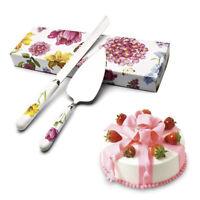 Stainless Steel Cake Bread Knife Server Set Flower Ceramic Handle Wedding Party