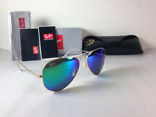Ray Ban Aviator Sunglasses Gold Frame with Green Flash Mirror Lens 58mm