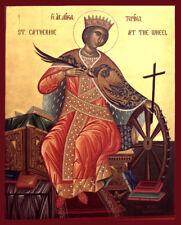 Saint Catherine of Alexandria- Hand Painted Byzantine Icon on wood Gold leaf 22k