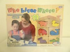 Who Lives Where? Memory & Matching game wood puzzle
