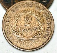 1864 US Two Cent Piece 2C High Grade DIE CRACK Civil War US Copper Coin CC3698