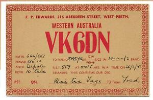 QSL Radio VK6DN Aberdeen West Perth Western  Australia ham 1948 fred Edwards DX