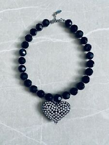 Aldo Black Pearl Diamante Heart Statement Necklace / Rrp.£49 New Xmas Gifts