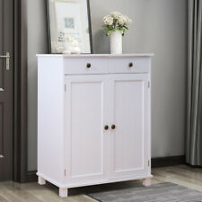 Wooden 2 Doors 2 Drawers Sideboard Shabby Chic Cupboard Cabinet Unit White Matt